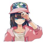 1girl baseball_cap blue_eyes brown_hair closed_mouth hat jacket ka_(marukogedago) long_hair long_sleeves looking_at_viewer open_clothes open_jacket original pink_headwear shirt simple_background solo upper_body white_background white_shirt wristband