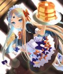 1girl abigail_williams_(fate/grand_order) alternate_costume bangs black_bow black_dress blonde_hair blue_eyes blush bow breasts corset dress enmaided fate/grand_order fate_(series) food forehead hair_bow highres inari_(ambercrown) long_hair looking_at_viewer maid maid_headdress multiple_bows open_mouth orange_bow pancake parted_bangs plate polka_dot polka_dot_bow small_breasts sticker thigh-highs thighs underbust white_legwear