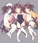 3girls :d :o animal_ear_fluff animal_ears ass ass_visible_through_thighs bangs bare_arms bare_shoulders black_buruma black_swimsuit blade_(galaxist) blue_eyes blush breasts brown_eyes brown_hair buruma cat_ears cat_girl cat_tail commentary competition_school_swimsuit covered_navel dress eyebrows_visible_through_hair green_eyes gym_shirt gym_uniform hat long_hair looking_at_viewer lying multicolored_hair multiple_girls multiple_tails name_tag nekomata nurse nurse_cap on_back on_side one-piece_swimsuit open_mouth original parted_lips pink_hair purple_hair shirt short_eyebrows short_sleeves small_breasts smile swimsuit symbol_commentary tail thick_eyebrows thigh-highs thigh_gap two-tone_hair two_side_up two_tails very_long_hair white_dress white_headwear white_legwear white_shirt
