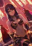 1girl 2others absurdres armor bangs bare_shoulders bikini bikini_armor black_hair boots breasts choker earrings gauntlets green_eyes highres indoors jewelry looking_at_viewer medium_breasts medium_hair multiple_others navel okuto original pointy_ears sitting smile solo_focus swimsuit thigh-highs thigh_boots warrior