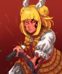 1girl absurdres arm_guards armor armored_dress bangs battoujutsu_stance blonde_hair blunt_bangs closed_mouth commentary crack cracked_skin damaged double_bun dress fighting_stance frilled_sleeves frills glint hair_ribbon haniwa_(statue) highres holding holding_sheath holding_sword holding_weapon hole japanese_armor joutouguu_mayumi kote kurokote kuya_(hey36253625) left-handed lips pants puffy_sleeves red_background red_ribbon red_skin ribbon scabbard serious sheath shirt sidelocks solo sword touhou unsheathing v-shaped_eyebrows vambraces weapon white_pants white_ribbon white_shirt yellow_dress yellow_eyes