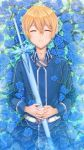 1boy absurdres bangs blonde_hair blue_flower blue_jacket blue_rose closed_eyes commentary_request eugeo facing_viewer flower hair_between_eyes hands_on_own_stomach highres holding holding_sword holding_weapon jacket liang_an long_sleeves looking_at_viewer lying male_focus on_back pants parted_lips partially_submerged rose sheath sheathed short_hair smile solo sword sword_art_online teeth water weapon