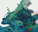 1girl absurdly_long_hair closed_mouth dress feet_out_of_frame from_side green_dress green_eyes green_hair ka_(marukogedago) long_dress long_hair original simple_background sitting solo very_long_hair white_background