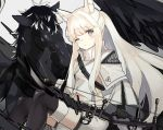 1girl animal_ear_fluff animal_ears arknights asymmetrical_sleeves bangs black_footwear black_gloves black_legwear boots bow_(weapon) breasts brown_eyes cloak commentary_request compound_bow elbow_gloves exion_(neon) eyebrows_visible_through_hair feet_out_of_frame gloves grey_background high_collar holding holding_bow_(weapon) holding_weapon horse_ears horse_girl jacket long_hair long_sleeves looking_at_viewer midriff one_eye_closed parted_lips pegasus platinum_(arknights) shirt short_shorts shorts sidelocks sitting skeb_commission small_breasts solo thigh-highs thigh_boots very_long_hair weapon white_cloak white_hair white_legwear white_shirt white_shorts wide_sleeves zipper