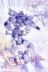 2boys blonde_hair blue_eyes chronicle_asher gundam highres laughing looking_up mask mecha multiple_boys open_mouth redhead tatsurounakanishi uso_ewin v-fin v2_gundam v_gundam victory_gundam