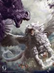 andybelzark battle claws commentary_request dragon duel_monster epic highres judgement_dragon no_humans open_mouth punishment_dragon tail watermark web_address wings yuu-gi-ou