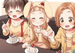 3girls :d :t ^_^ akagi_miria animal_ears animal_hood bangs black_hair blurry blurry_background blurry_foreground blush bow brown_background brown_eyes brown_hair brown_jacket brown_shirt bunny_hood cake cake_slice closed_eyes closed_mouth couch depth_of_field drawstring eating fake_animal_ears food food_on_face forehead hair_ornament hairclip holding holding_spoon hood hood_up hooded_jacket ichihara_nina idolmaster idolmaster_cinderella_girls jacket long_hair long_sleeves multiple_girls on_couch open_clothes open_jacket open_mouth parted_bangs plate rabbit_ears red_bow ryuuzaki_kaoru shirt sitting smile spoon striped striped_shirt table thick_eyebrows twintails two-tone_background upper_teeth very_long_hair white_background yukie_(kusaka_shi)