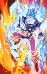 1boy aura blue_eyes blue_hair clenched_hands closed_mouth destruction dougi dragon_ball dragon_ball_super full_body highres looking_at_viewer male_focus mattari_illust muscle rock smile solo son_gokuu spiky_hair super_saiyan super_saiyan_blue torn_clothes