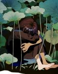 1girl barefoot black_background brown_dress brown_hair closed_mouth covered_face dress head_down ka_(marukogedago) knees_on_chest leg_hug lily_pad long_dress long_hair long_sleeves original plant simple_background sitting solo