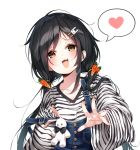 1girl :3 :d black_hair carrot_hair_ornament collarbone fang food_themed_hair_ornament hair_ornament hairclip heart highres long_hair long_sleeves looking_at_viewer low_twintails open_mouth original overalls shirt simple_background smile solo spoken_heart strap_slip striped striped_shirt twintails upper_body white_background white_shirt wide_sleeves yaya_(yayaa_00) yellow_eyes