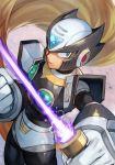 1boy android armor beam_saber black_armor black_zero blue_eyes clenched_hand energy energy_weapon forehead_jewel gem glowing grey_hair hankuri helmet holding holding_sword holding_weapon long_hair looking_at_viewer male_focus rockman rockman_x serious shoulder_armor solo sword symbol very_long_hair weapon zero_(rockman)
