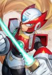 1boy android armor beam_saber blonde_hair blue_eyes clenched_hand energy energy_weapon forehead_jewel full_body gem glowing hankuri helmet holding holding_sword holding_weapon long_hair looking_at_viewer male_focus red_armor rockman rockman_x serious shoulder_armor solo sword symbol very_long_hair weapon zero_(rockman)