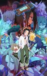 6+boys 6+girls afro ainu_clothes amidamaru asakura_hao asakura_you beads black_dress black_hair blonde_hair blue_hair brown_hair cape chocolove commentary conchi_(shaman_king) dress eliza_(shaman_king) everyone eyewear_on_head fairy green_eyes green_hair headband headphones highres iron_maiden_jeanne jewelry johann_faust_viii katana kate_iwana kororo kyouyama_anna leaf_umbrella long_hair lyserg_diethel marco_lasso matamune morphine multiple_boys multiple_girls necklace ofuda opacho oyamada_manta pink_eyes pink_hair ponchi_(shaman_king) prayer_beads red_eyes scarf school_uniform shaman_king short_hair silver_hair sleeveless smile sunglasses sword tamamura_tamao tao_jun tao_ren umemiya_ryuunosuke usui_horokeu violet_eyes weapon