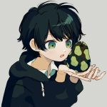 1other androgynous black_hair black_hoodie fingernails food freckles fruit green_eyes grey_background holding ka_(marukogedago) open_mouth original pear short_hair simple_background solo