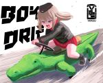 1girl alligator artist_logo artist_name bangs black_footwear black_headwear black_jacket black_legwear blue_eyes boots commentary crocodilian dress_shirt drifting english_commentary english_text frown garrison_cap girls_und_panzer glaring hat highres insignia itsumi_erika jacket kiddie_ride kuromorimine_military_uniform leaning_forward long_sleeves medium_hair military military_hat military_uniform miniskirt motion_blur open_mouth pleated_skirt red_shirt red_skirt riding romaji_commentary shirt silver_hair sitting skirt socks solo uniform voccu