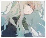 1girl black_sweater blue_hair border closed_mouth green_eyes ka_(marukogedago) long_hair original solo sweater upper_body white_border