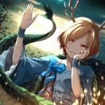1girl arm_up armband backlighting bangs blonde_hair blue_bow blue_neckwear blue_shirt blurry_foreground bow bowtie chromatic_aberration commentary_request constricted_pupils dragon_girl dragon_horns dragon_tail earrings eyebrows_visible_through_hair eyelashes eyes_visible_through_hair fingernails floral_print flower_ornament frilled_sleeves frills glowing hand_on_own_cheek hand_on_own_face highres horns jewelry kicchou_yachie long_fingernails long_sleeves multicolored multicolored_eyes open_mouth parted_bangs parted_lips red_eyes red_nails shards sharp_fingernails shiro_1213 shirt short_hair smile solo square_neckline tail touhou turtle_shell waving yellow_eyes