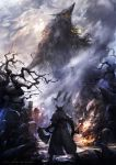 1other 2016may_(13038148) absurdres bare_tree belt bird black_capelet black_coat black_gloves black_headwear bloodborne capelet chinese_commentary claws cleric_beast coat crow dual_wielding facing_another fog from_behind gloves gun hat highres holding holding_gun holding_weapon hunter_(bloodborne) long_coat long_sleeves monster open_mouth outdoors saw_cleaver shoes size_difference skull standing teeth tombstone tree tricorne vambraces watermark weapon web_address weibo_username