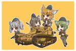 4girls absurdres animal_ears armored_vehicle artist_request binoculars brown_eyes brown_hair carro_veloce_cv-33 caterpillar_tracks chibi commentary_request dog_ears green_eyes green_hair grey_hair ground_vehicle gun handgun hat highres italy light_brown_hair military military_hat military_uniform military_vehicle motor_vehicle multiple_girls open_mouth original pistol short_hair smile submachine_gun tank uniform weapon yellow_background zanshomimai