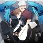1boy 1girl annoyed blush boots borrowed_garments brown_hair cross-laced_footwear devil_may_cry devil_may_cry_5 feathered_wings glowing glowing_wings honey_dogs jacket kyrie nero_(devil_may_cry) short_hair silver_hair sitting sitting_on_lap sitting_on_person smile wings