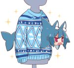 1girl animal_ear_fluff animal_ears animalization bangs blue_hair blue_sweater blush commentary_request eyebrows_visible_through_hair fox_ears from_side hair_between_eyes highres kemomimi-chan_(naga_u) long_hair looking_away mannequin naga_u open_mouth original shark simple_background solo sparkle sweater v-shaped_eyebrows violet_eyes white_background