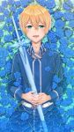 1boy absurdres bangs blonde_hair blue_flower blue_jacket blue_rose commentary_request eugeo facing_viewer flower green_eyes hair_between_eyes hands_on_own_stomach highres holding holding_sword holding_weapon jacket liang_an long_sleeves looking_at_viewer lying male_focus on_back open_mouth pants partially_submerged rose sheath sheathed short_hair smile solo sword sword_art_online water weapon