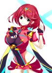 1girl armor artist_request covered_navel donageage fingerless_gloves gem gloves hair_ornament headpiece highres jewelry pyra_(xenoblade) red_eyes red_shorts redhead short_hair short_shorts shorts shoulder_armor solo thigh-highs thighs tiara upper_body xenoblade_chronicles_(series) xenoblade_chronicles_2