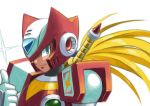 1boy android armor blonde_hair blue_eyes energy_sword gloves helmet hi-go! long_hair looking_at_viewer male_focus ponytail robot rockman rockman_x simple_background smile solo sword upper_body very_long_hair weapon white_background zero_(rockman)