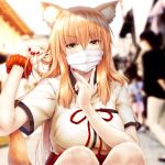 1girl animal_ears blurry blurry_background blush breasts commentary_request covered_mouth day depth_of_field fate/extra fate/extra_ccc fate/extra_ccc_fox_tail fate_(series) fox_ears fox_girl fox_tail holding holding_hair large_breasts long_hair looking_at_viewer mask mouth_mask nail_polish orange_hair outdoors red_nails red_ribbon ribbon scrunchie shirt short_sleeves solo_focus squatting suien suzuka_gozen_(fate) tail white_shirt wrist_scrunchie yellow_eyes