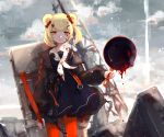 1girl animal_ears arknights artist_request bear_ears black_dress black_jacket blonde_hair blood blood_drip candy_hair_ornament clouds dress food_themed_hair_ornament frying_pan gummy_(arknights) hair_ornament highres holding holding_frying_pan jacket neckerchief open_clothes open_jacket orange_legwear outdoors pantyhose red_eyes sailor_collar sailor_dress shield short_hair sky solo standing white_neckwear white_sailor_collar