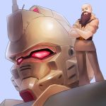 1boy bald beard brown_eyes commission cosmikaizer crossed_arms english_commentary facial_hair glowing glowing_eyes gundam gundam_08th_ms_team gundam_ez8 highres justinius_builds looking_down mecha military military_uniform real_life red_eyes second-party_source solo standing uniform