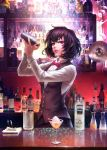 1girl alcohol bartender black_hair bow bowtie chain_sumeragi cherry cocktail_glass cocktail_shaker counter cup drinking_glass food fruit highres indoors kekkai_sensen long_sleeves looking_at_viewer mole mole_under_eye pink_eyes red_bow shaking shirt solafuxiao solo vest white_shirt