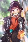 1girl bangs black_headwear black_jacket blurry blurry_background brown_eyes brown_hair clothes_writing cowboy_shot depth_of_field double_v eyebrows_visible_through_hair fingernails glasses highres idolmaster idolmaster_shiny_colors jacket lens_flare long_fingernails long_hair long_sleeves looking_at_viewer multicolored multicolored_nails nail_polish oosaki_amana parted_lips partially_unzipped red_shirt round_eyewear shirt sleeves_past_wrists smile solo straight_hair swept_bangs v very_long_hair yae_(mono110) yellow-tinted_eyewear