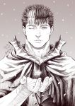 1boy armor bandages berserk black_hair cloak facial_scar greyscale guts_(berserk) looking_at_viewer male_focus monochrome multicolored_hair nose_scar one_eye_closed open_hand petals scar short_hair solo twitter_username two-tone_hair upper_body white_hair zonzgong