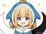 1girl :d bangs black_wings blonde_hair blue_eyes blue_hoodie commentary_request cosplay crown eyebrows_visible_through_hair gawr_gura gawr_gura_(cosplay) hololive hololive_english hood hood_up hoodie looking_at_viewer maaru_(shironeko_project) miicha mini_crown mismatched_wings open_mouth shark_hood shironeko_project simple_background smile solo star_(symbol) twitter_username upper_body upper_teeth virtual_youtuber white_background white_wings wings