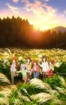 6+girls :d :o absurdres ahoge bangs black_skirt blue_eyes blue_shirt blue_skirt braid brown_eyes brown_hair brown_pants brown_skirt bush closed_mouth clouds collared_shirt dirt_road evening eyebrows_visible_through_hair fence field forest fujimiya_konomi grass green_jacket hair_ornament hair_ribbon highres holding ichijou_hotaru instrument jacket key_visual koshigaya_komari koshigaya_natsumi landscape leaf long_skirt miyauchi_renge mountain multiple_girls nature non_non_biyori official_art open_mouth orange_hair orange_skirt overall_skirt pants pine_tree plaid plaid_skirt ponytail pulling purple_footwear purple_hair recorder red_jacket red_skirt ribbon road rural scenery shirt sidelocks skirt sky smile sun sunset sweater tree turtleneck turtleneck_sweater walking white_shirt yellow_shirt yellow_sweater