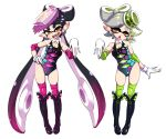 +_+ 2girls adapted_costume aori_(splatoon) black_hair boots detached_collar earrings elbow_pads fangs gloves hanya_(hanya_yashiki) hotaru_(splatoon) jewelry knee_boots knee_pads leotard long_hair multiple_girls pointy_ears pose short_hair silver_hair splatoon_(series) tentacle_hair thigh-highs very_long_hair white_background white_gloves wrestling_outfit yellow_eyes