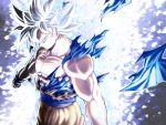 1boy aura clenched_hands closed_mouth dougi dragon_ball dragon_ball_super grey_eyes highres looking_at_viewer male_focus mattari_illust muscle silver_hair smile solo son_gokuu spiky_hair standing torn_clothes ultra_instinct