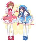2girls absurdres alternate_color bangs black_hair blue_footwear blunt_bangs brown_hair cardcaptor_sakura commentary cosplay daidouji_tomoyo english_commentary enosst frilled_skirt frills full_body fuuin_no_tsue gloves green_eyes highres holding holding_wand kinomoto_sakura kinomoto_sakura_(cosplay) long_hair looking_at_another magical_girl matching_outfit multiple_girls puffy_short_sleeves puffy_sleeves red_footwear shoes short_hair short_sleeves skirt smile standing thigh-highs violet_eyes wand what_if white_gloves white_legwear