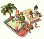 cape coconut dress flower frog game_boy hair_flower hair_ornament handheld_game_console hat highres kaeru_no_tame_ni_kane_wa_naru link marin_(the_legend_of_zelda) nintendo nintendo_switch octorok palm_tree playing_games pointy_ears prince_richard_(kaeru_no_tame_ni_kane_wa_naru) sabure_oukoku_no_ouji shield sitting sword the_legend_of_zelda the_legend_of_zelda:_link's_awakening through_screen tree weapon yukifuru2626