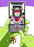 beni_(nikaidera) cellphone decepticon facial_recognition holding holding_phone looking_at_phone mecha no_humans phone photobomb pov red_eyes scrapper_(transformers) smartphone starscream transformers transformers:_revenge_of_the_fallen transformers_(live_action) v