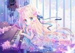 1girl :o animal_ear_fluff animal_ears bangs blonde_hair blue_eyes blue_ribbon blush cat_ears clock commentary_request dress eyebrows_visible_through_hair finger_to_mouth floating_hair flower frilled_dress frills hair_flower hair_ornament hair_ribbon hand_up indoors instrument long_hair looking_at_viewer looking_to_the_side original parted_lips peas_(peas0125) piano pink_flower ribbon sitting solo very_long_hair wall_clock