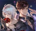 2boys apple armor belial_(granblue_fantasy) black_shirt blue_eyes brown_hair character_name chest collar eating feather_boa food fruit gradient_hair granblue_fantasy light_particles looking_at_viewer male_focus multicolored_hair multiple_boys pauldrons quetzalliao red_eyes shirt short_hair shoulder_armor smile starry_background upper_body white_hair