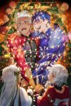 2boys 2girls archer blue_hair blush bodysuit christmas christmas_tree closed_eyes cu_chulainn_(fate)_(all) dark_skin dark_skinned_male earrings fate/grand_order fate/stay_night fate_(series) g0ringo highres jack_the_ripper_(fate/apocrypha) jeanne_d'arc_(fate)_(all) jeanne_d'arc_alter_santa_lily jewelry lancer laughing long_hair male_focus merry_christmas multiple_boys multiple_girls ornament ponytail red_eyes short_hair white_hair
