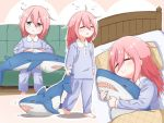 1girl ahoge aqua_eyes barefoot bed child closed_eyes hug ikea_shark kagamihara_nadeshiko long_hair pajamas pink_hair punitaira sitting sleeping sleepy stuffed_animal stuffed_shark stuffed_toy under_covers younger yurucamp