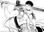 1boy bara berserk black_hair blood blood_on_face bruise bruise_on_face chest dagger dragonslayer_(sword) facial_scar greyscale guts_(berserk) injury male_focus monochrome muscle nose_scar over_shoulder scar short_hair solo sword sword_over_shoulder toned toned_male twitter_username upper_body weapon weapon_over_shoulder zonzgong