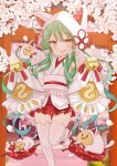 1girl :d ahoge akashi_(azur_lane) animal_ears animal_hood azur_lane bangs bare_shoulders bell blush cat_ears cat_hood cherry_blossoms coin_(ornament) commentary_request cowboy_shot detached_sleeves eyebrows_visible_through_hair falling_petals fang flat_chest green_hair hair_between_eyes hair_ornament hair_ribbon highres hood japanese_clothes jingle_bell kimono long_hair looking_at_viewer low_twintails manjuu_(azur_lane) miniskirt open_mouth red_skirt ribbon saekiya_sabou sidelocks skin_fang skindentation skirt sleeveless sleeveless_kimono sleeves_past_fingers sleeves_past_wrists smile solo_focus standing standing_on_one_leg thigh-highs torii tsunokakushi twintails twitter_username uchikake very_long_hair wedge_heels white_kimono white_legwear white_ribbon wide_sleeves yellow_eyes zettai_ryouiki