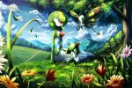 arm_support beautifly clouds commentary_request day flower gardevoir gen_3_pokemon grass kirlia mountain open_mouth outdoors pokemon pokemon_(creature) rowdon sitting sky smile tongue tree
