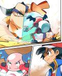 1boy aqua_eyes ash_ketchum bangs baseball_cap battle black_hair blue_jacket brown_eyes closed_mouth commentary_request gen_1_pokemon gen_3_pokemon hariyama hat highres hyou_(hyouga617) jacket mr._mime pokemon pokemon_(anime) pokemon_(creature) pokemon_swsh_(anime) reflect_(pokemon) shirt sleeveless sleeveless_jacket white_shirt