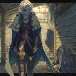 1boy bangs black_pants boots brown_footwear cape closed_eyes collarbone eyepatch fire_emblem fire_emblem_fates green_cape hair_between_eyes harusame_(rueken) hood hood_up niles_(fire_emblem) pants short_hair silver_hair striped thigh-highs thigh_boots vertical-striped_pants vertical_stripes